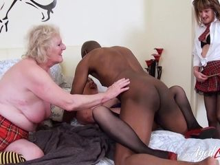 AgedLovE trio brit Matures and firm tear up orgy
