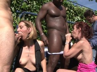 Grandma gang orgy Outdoor - bi-racial pornography