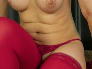 Madam in crimson sundress Water Fire is tugging moist cunt after striptease