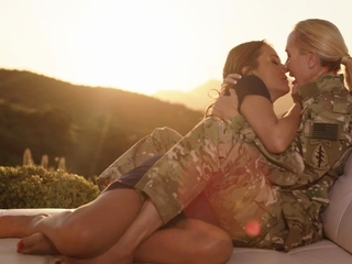 Buxom soldier and her wifey eat each others coochie