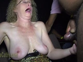 Insatiable grandma Cathy bi-racial gang-bang
