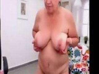 Unexperienced turkish grandma dancing naked on web webcam