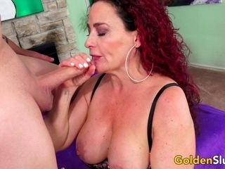 Super hot aged sandy-haired Amanda Ryder satiates Her clean-shaven vulva with a rock hard sausage