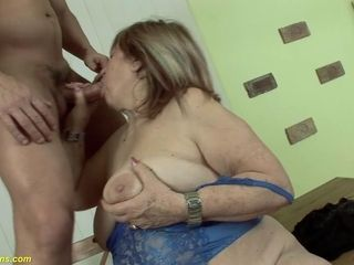Extraordinary gross plus-size 72 years elder mother deep pounded