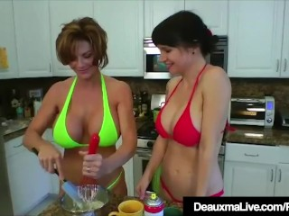 Texas milf Deauxma licks Angie Noir's fuckbox In The Kitchen!