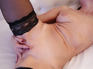 Scorching ash-blonde mature dame Sylvie frolicking with herself