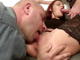 French red-haired cougar knows how to treat 2 XXL lollipops