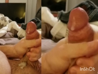Solo masculine stroking and witnessing porno pop-shot