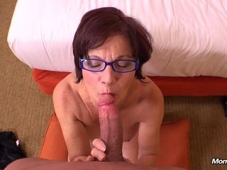Round GILF in glasses super-hot first-timer point of view flick