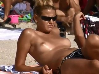 Bare-breasted in beach compilation