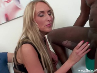 Bi-racial big black cock For towheaded Swinger wifey