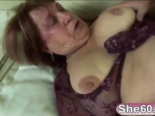 Huge tits granny masturbating busted by young lover gave her doggy fucked instead