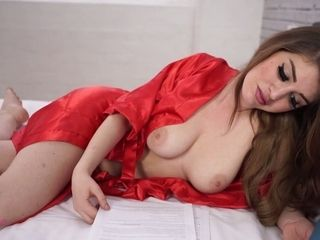 Marvelous cougar Katie Louise is reading couch time stories in sexy undergarments
