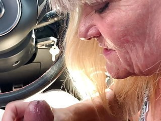 My fresh kinky grandma blowing my good-sized beef whistle in my truck !!!