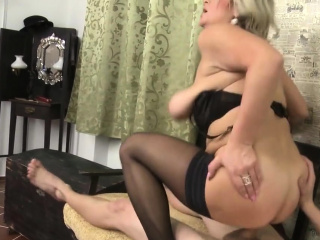 Huge-chested blondie has joy with a spear