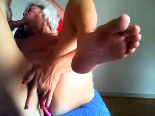 Nude grandmother playing and playing with intercourse playthings
