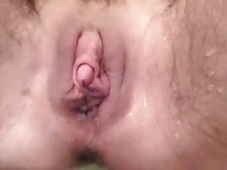 Moist pleasure button furry poon urinating