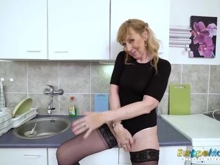 Old mature chick is toying alone