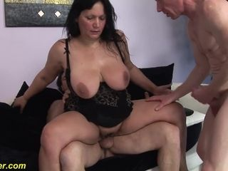 Brown-haired mature gets dual poked in rock-hard way