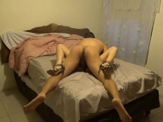 Cuckold humping for cash in high high-heeled shoes