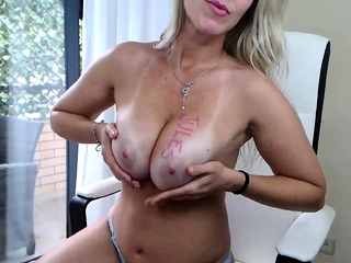 Yam-sized and yam-sized-chested mature ash-blonde superslut with her playthings