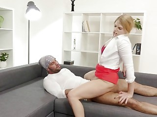 Blond woman with crimson microskirt and high-heeled slippers rails rock-hard chisel