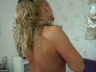 Curvaceous blonde mature lady ready to get wild with a big toy