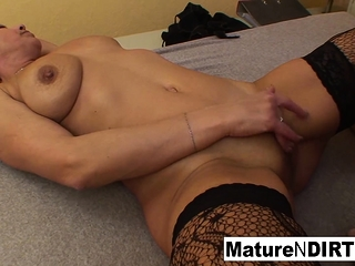 Bewildered blond grannie gets some sexual assistance