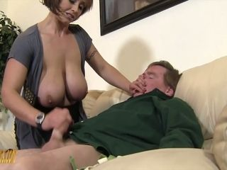 Mega huge-chested domina Kyle Stone gives shoes job and cupcakes job to her subordinated