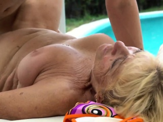 Nailed grandma takes cum