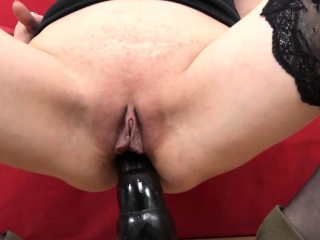 Super-naughty mature black-haired gets the big black cock to spunk on her face