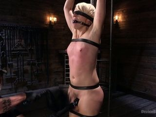 Naughty man faux-cock pokes opened up coochie of crucified on the floor super-bitch Helena Locke