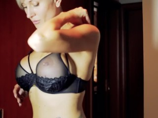 Tattooed model Tanya Virago unclothes stunning underwear and plays with her slit