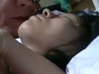 Crazy husband smooches his japanese dark haired wifey while finger-banging her cunt