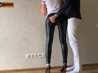 Tightjob humid looking leather trousers and high heel jizz on leather trousers