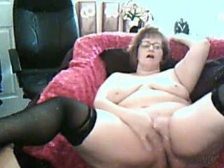 Horny mature neighbour masturbating in solo homemade video
