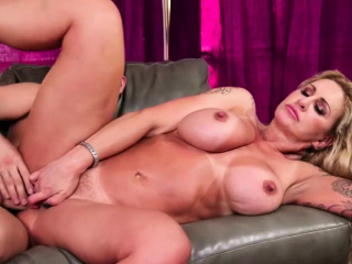 Buxom tatted stepmother gullets and bum smashed by her sonnie
