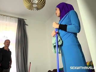 Lazy muslim maid gets hard-core dual foray