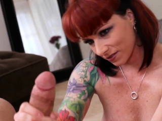 POV lord it over redhead cougar deepthroating