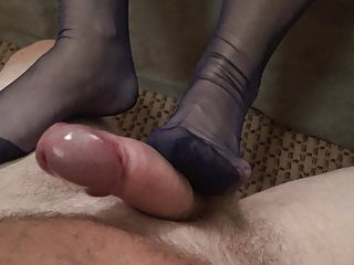 My adorable wifes nylon soles on my sausage