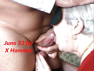 Granny swallows rub-down the cum with an increment of she likes in rub-down the chips