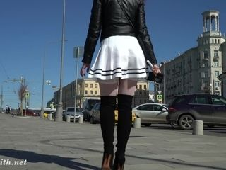 Sight under my microskirt. Jeny Smith flipping in a minimicroskirt in public