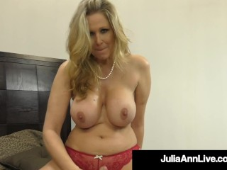 Super hot big-titted cougar Julia Ann faps A rock-hard beefstick In Her jaws!