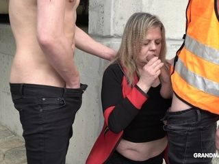 Mature plump gal is banged by 2 youthful dudes in public