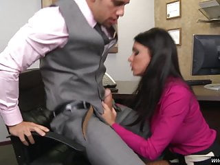 Bigtits cougar in fishnets jammed in the office