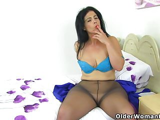Spanish milf Montse Swinger dildos will not hear of shaven pussy
