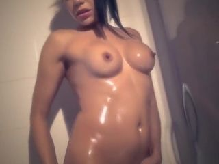 Cougar gropes herself with lubricant in the douche