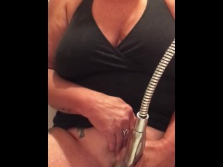 MILF masterbating more dish out deemed shower massager
