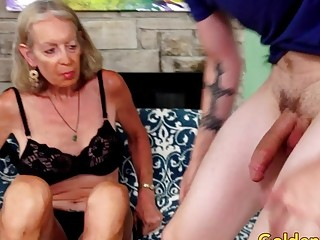 Tall grandma supah gorgeous Has Her cock-squeezing bunghole expanded by a junior stud