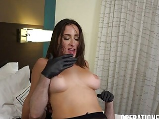 Huge-titted cougar in mittens and nylon gets labia banged rock-hard